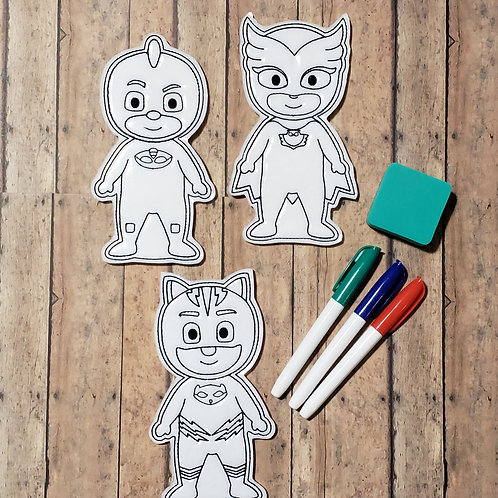 PJM Flat Coloring Dolls