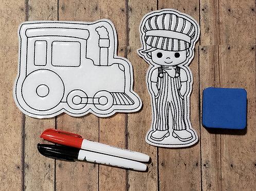 Train Flat Coloring Dolls