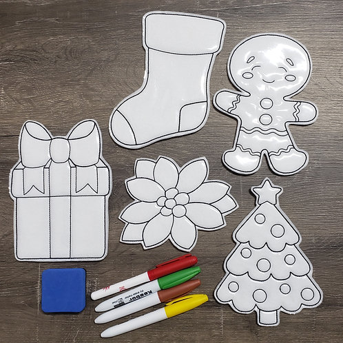 Christmas Flat Coloring Dolls
