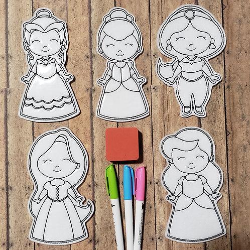 Princess Flat Coloring Doll