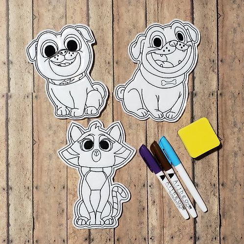 Dog Pals Flat Coloring Dolls