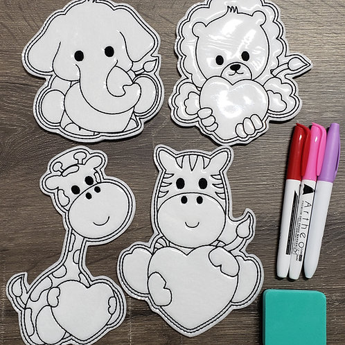 Heart Animal Flat Coloring Dolls