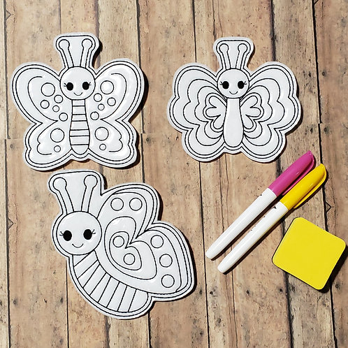 Butterfly Flat Coloring Dolls