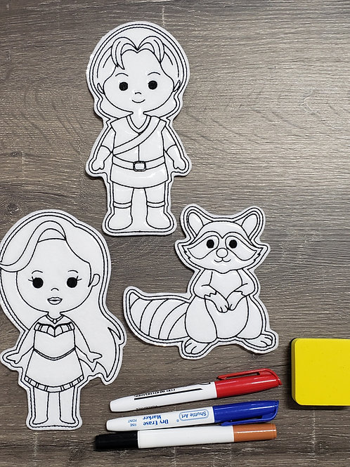 Pocahontas Flat Coloring Dolls
