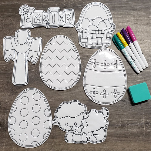 Easter Flat Coloring Dolls