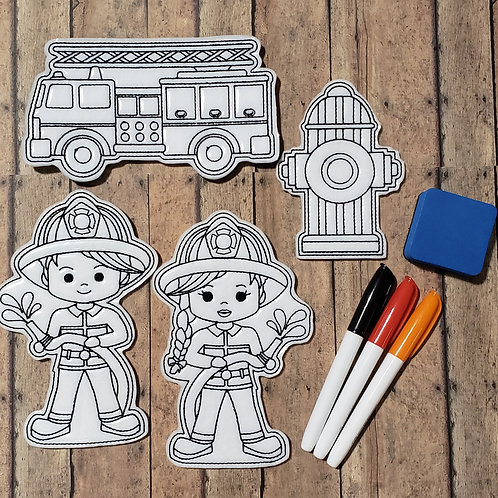 Fire Flat Coloring Dolls