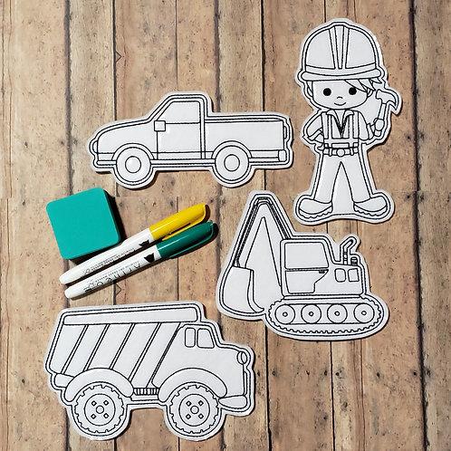 Construction Flat Coloring Dolls