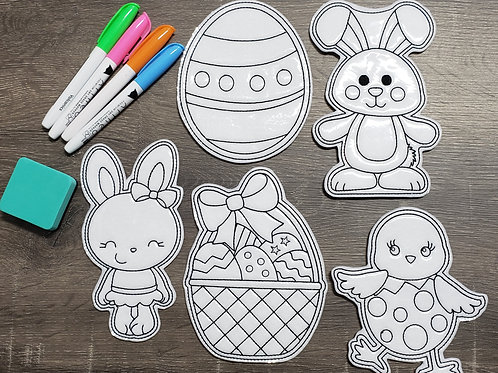 Easter Bunny Flat Coloring Dolls