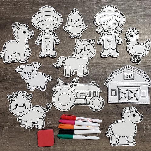 Farm Flat Coloring Dolls