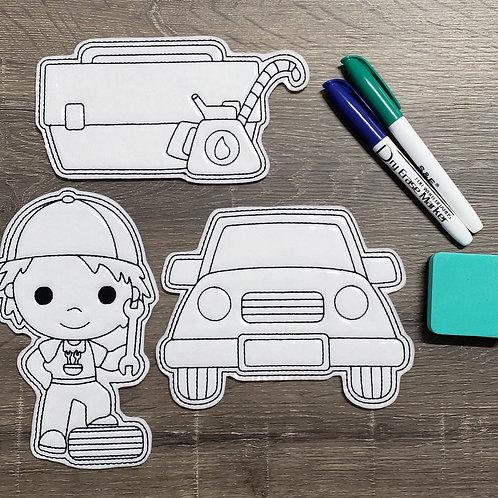 Mechanic Flat Coloring Dolls