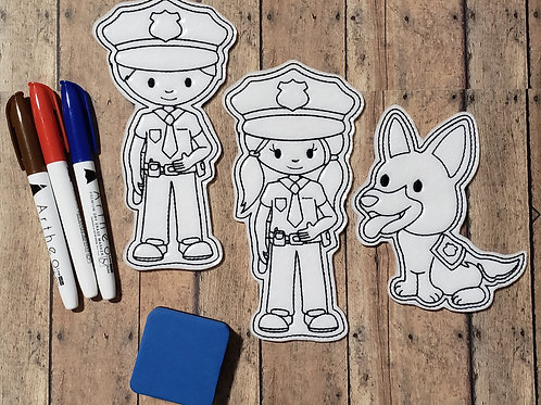 Police Flat Coloring Dolls