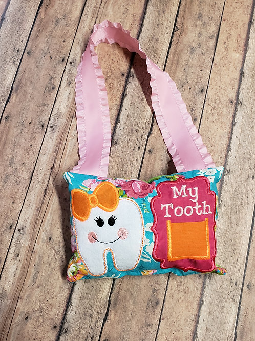 Blue with Flowers Tooth Fairy Pillow