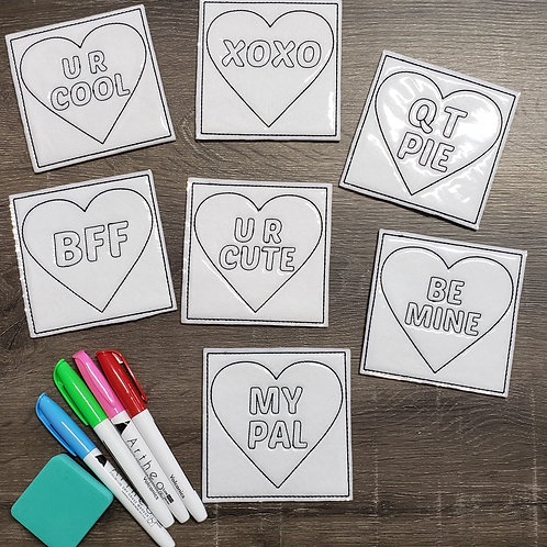 Valentine Cards Flat Coloring Dolls