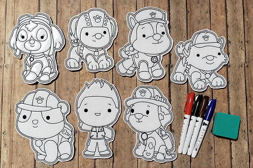 Paw Dogs Flat Coloring Dolls