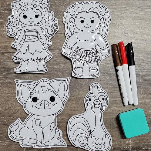 Moana Flat Coloring Dolls