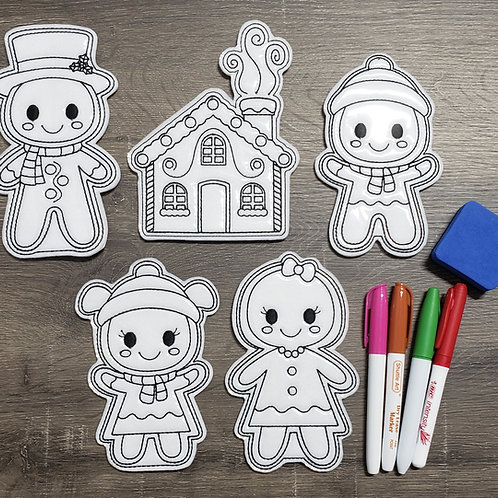 Gingerbread Flat Coloring Dolls