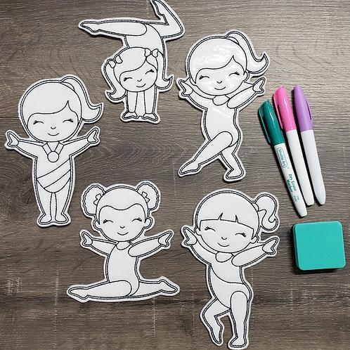 Gymnastics Flat Coloring Dolls