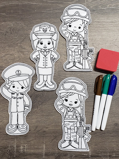 Military Flat Coloring Dolls