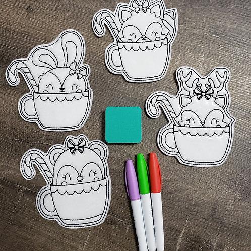 Tea Cup Flat Coloring Dolls