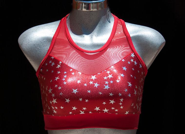 Sport Bra Sparkly Red Stars