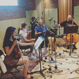Recording with the Black Dog String Quartet, Monarch Studios, 2019.