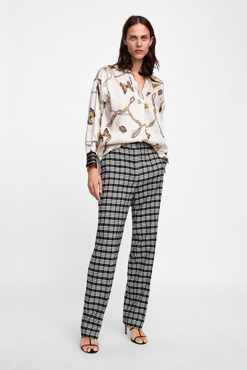 plaid pants zara
