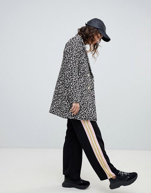 asos river island leopard print coat