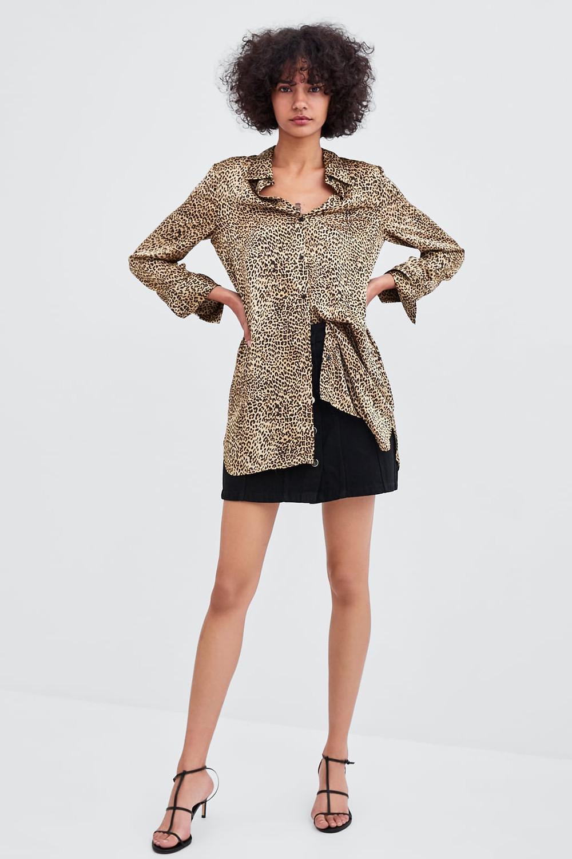 zara leopard print shirt blouse
