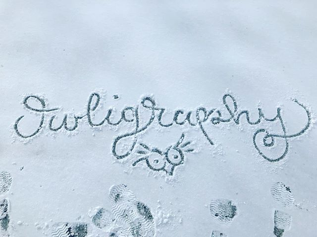 First snow fall love ❄️ #snow #firstsnow #owligraphy #calligrafriends #calligraphy #owl #handlettere