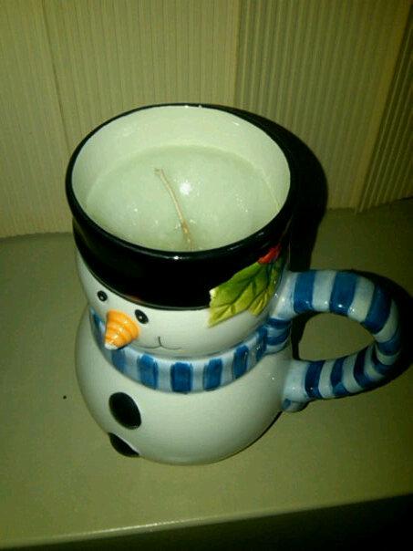 snowman mug candle