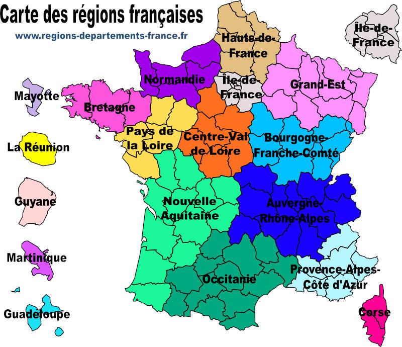 naturalisation carte des régions métropole et outre mere