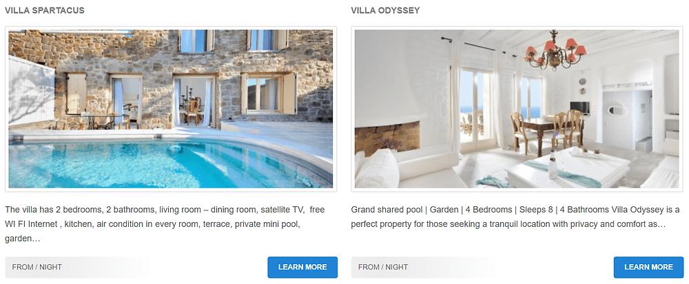 villa entière à louer pas cher groupe mykonos