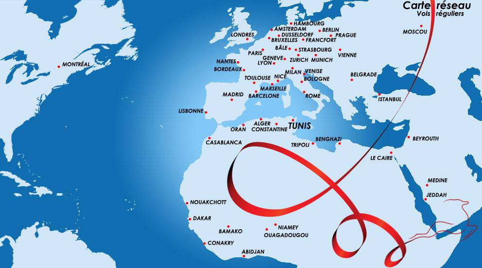 pays desservis par tunisiair - liste des pays sans visa et des pays en europe pour tunisiens