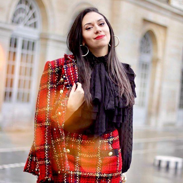 Tenue rouge velvet tweed