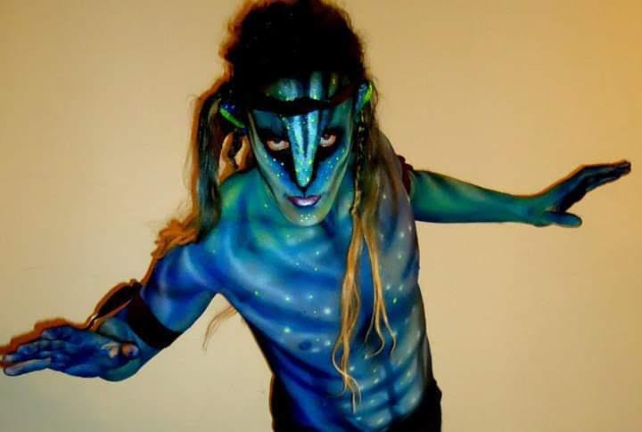 Disfrazado en Halloween de Avatar. Foto: cedida por el entrevistado.