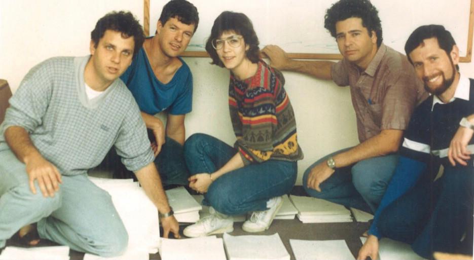Preparando material para Ai-ADA, 1988 (Baruch Deutsch, Yossi Weller, Tali Even, Roy Kariv, Dani Kord) Foto: cedida por el entrevistado.