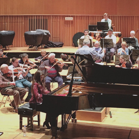 Lara rehearsing with Peter Bridle and the Birmingham RO