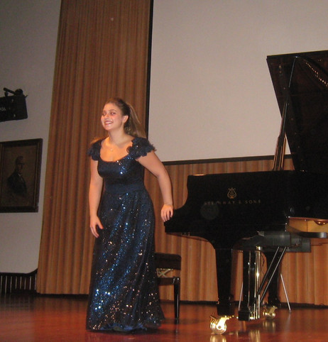 Taking a bow after her recital at Bogazici University, Istanbul