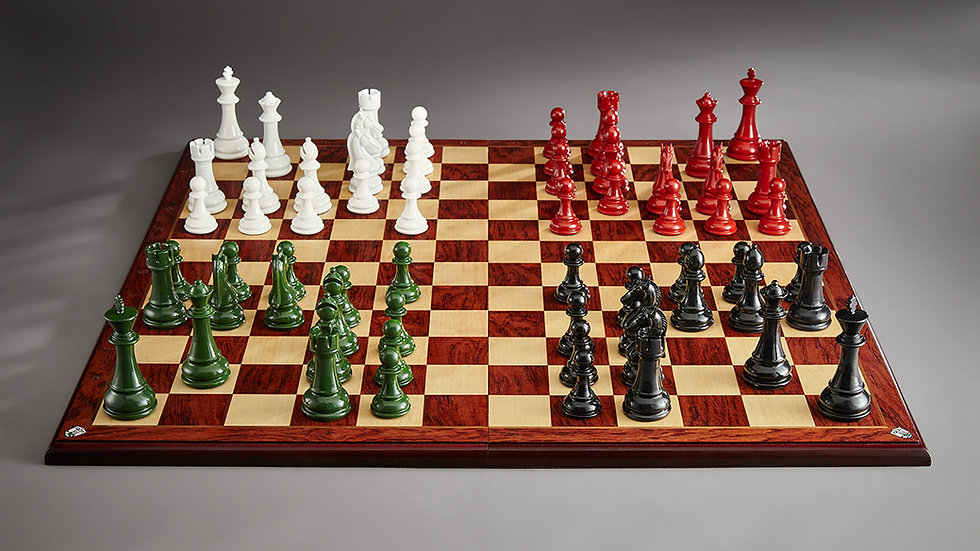 Quaternity chessboard with pieces in situ