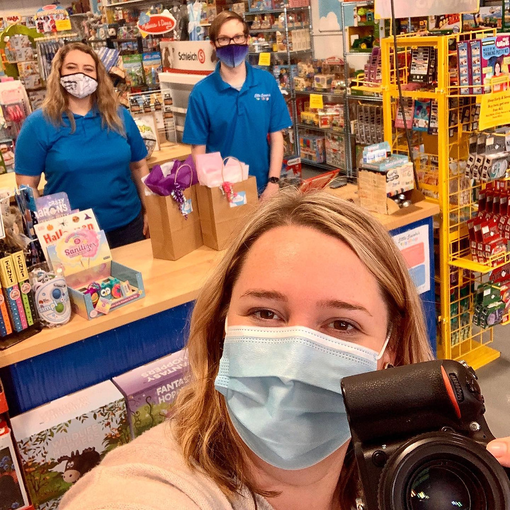 Kate Spencer taking a selfie at Little Lincoln's Toy Shop