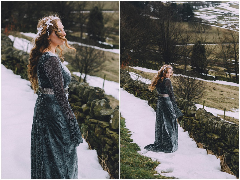 Snow queen in winter fields