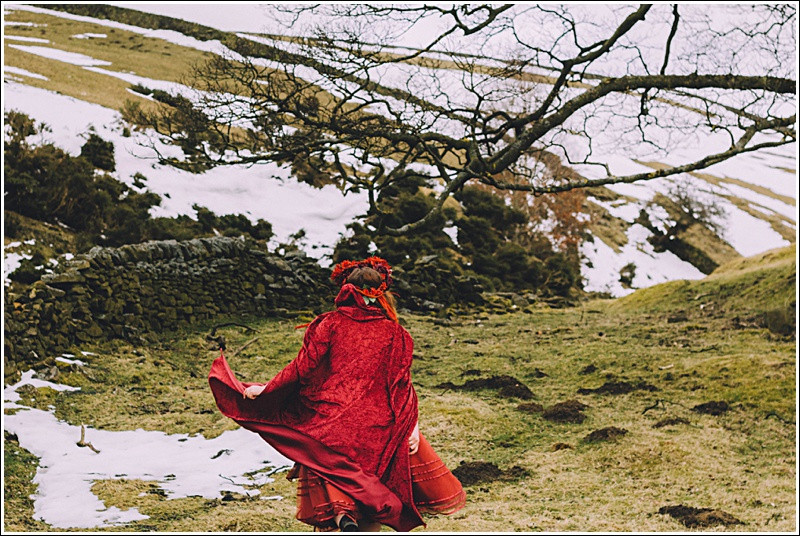 Running princess in red cloak