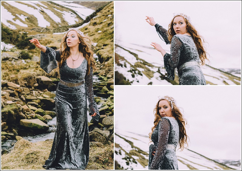 Snow Queen with arms raised, fighting with her magic