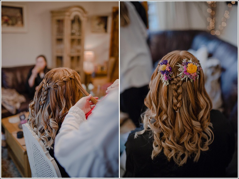 Floral bridesmaid hairstyle.