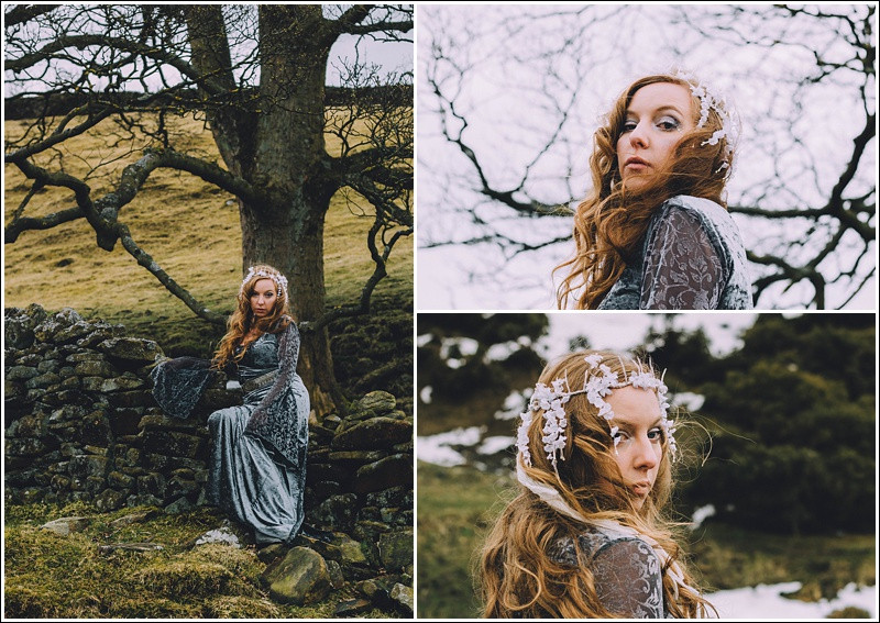 Snow queen sitting on stone wall