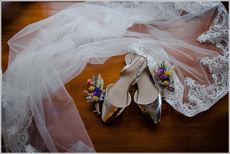 Silver wedding shoes flatlay