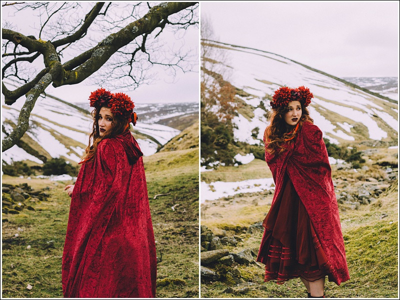Princess afraid in red cloak