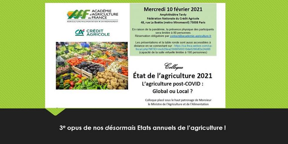 Académie d'Agriculture de France, Etat de l'agriculture 2021
