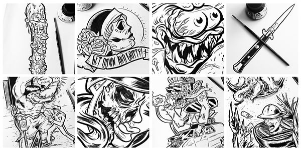 gritty arts steven grit lombardi inking brush and ink illustrations artist