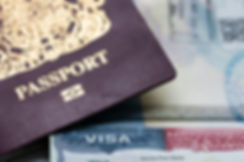 Close up of a Visa document and passport